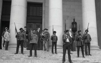 Black Panther demonstration. Photo courtesy of the State Governors' Negative Collection, 1949-1975, Washington State Archives.