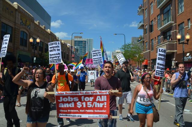 Photo of No More Deportations contingent in Chicago Pride parade