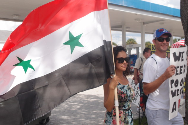 Photo of Tampa protests war in Syria at CENTCOM