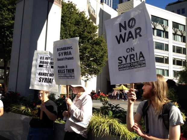 Photo of Seattle action vs. US bombing of Syria