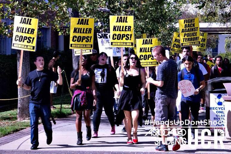 Photo of UC Riverside students, faculty protest police violence
