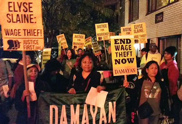 Photo of Domestic workers lead surprise march on home of millionaire Elyse Slaine