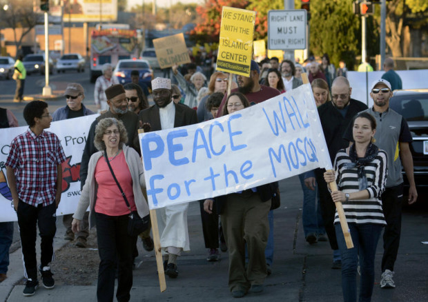 Albuquerque mosque firebombed, hundreds march for peace