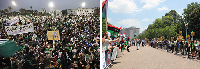 The ISO championed the Libyan rebels who demanded NATO airstrikes while ignoring Libyans who rallied against intervention (left). ISO allies in the Libyan exile community chanted