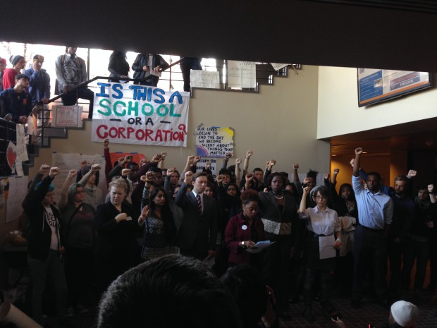 Photo of SU students occupy administration building for 3rd day