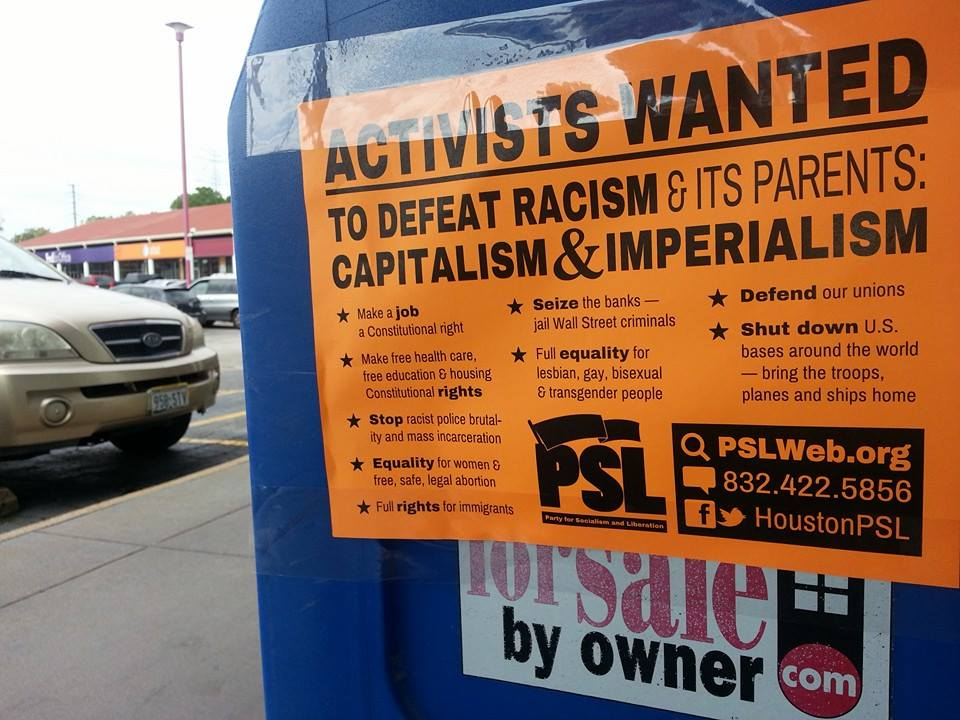 A flyer promoting the PSL in Houston, Tex.