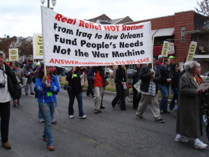 ANSWER delegation in New Orleans, protesting the government's criminal neglect shortly after Hurricane Katrina.