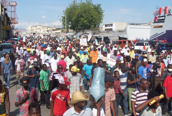 Thousands marched through Haiti's capital on Jan. 20 calling for President Michel Martelly to step down. Credit: Daniel Tercier/Haïti Liberté