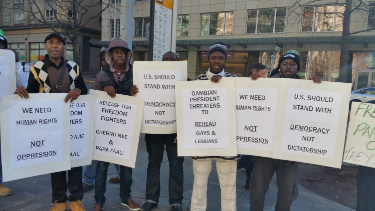 Photo of Gambian activists demand freedom for Gambian Two
