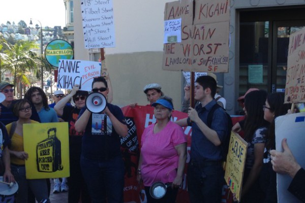 Tenants facing harassment and eviction--a social worker, a teacher and an elderly woman--speak out in San Francisco