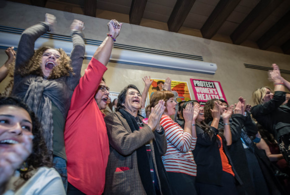 Albuquerque women celebrate as they hear the results of vote on late abortion ban.