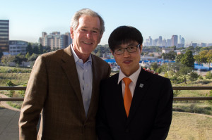 """Liar to liar. In 2013, Shin Dong-hyuk went on a tour to help build a campaign against the DPRK. He stopped at the George Bush Institute in order to add his falsified stories to Bush's """"Freedom Collection."""""""
