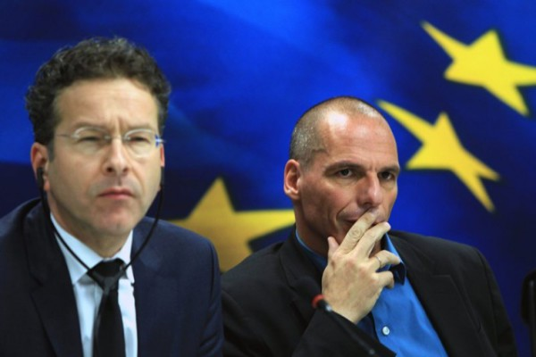 Eurogroup chief Jeroen Dijsselbloem (left) and Greek Finance Minister Yanis Varoufakis (right) speak during a press conference following a meeting at the Finance Ministry in Athens, Greece, Jan. 30