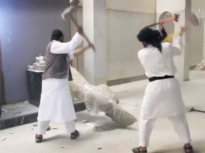 ISIS destroying antiquities.