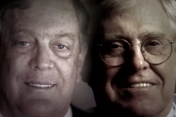 Screenshot from the 'Koch Brothers Exposed' movie trailer