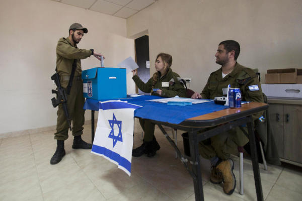 Israeli soldiers vote in the recent election