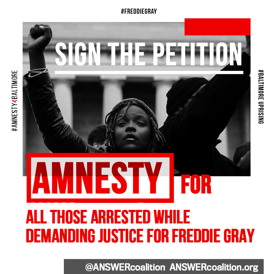 Photo of Petition campaign: Amnesty for ALL those arrested demanding justice for Freddie Gray!