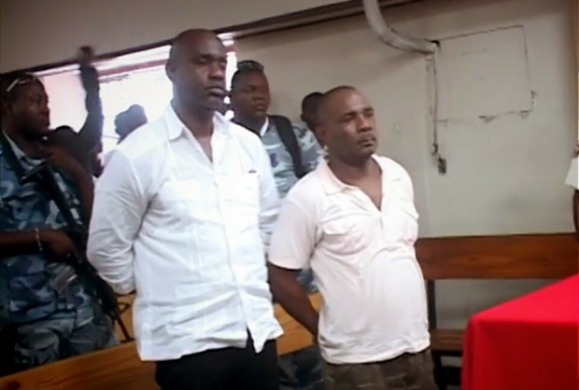 Accused kidnappers Woodly 'Sonson La Familia' Ethéart (left) and Renel 'Le Récif' Nelfort were released in a highly irregular two-hour hearing on April 17, provoking shock and outrage.