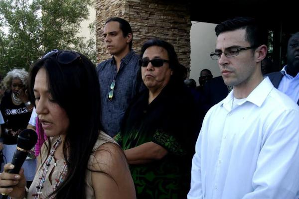 Melanie Yazzie (at mic) at Charleston vigil in Albuquerque