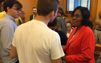 Rep. Winn with some of her supporters at the June 26 hearing.