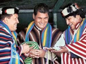 Hugo Chavez, Rafael Correa and Evo Morales
