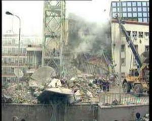 Devastation in Yugoslavia due to U.S./NATO bombing in 1999