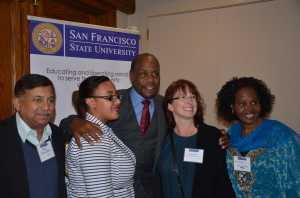 Danny Glover (center) with others at SFSU Student Strike commemoration event.
