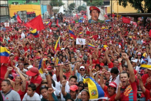 PSUV supporters rally as campaigning draws to a close.