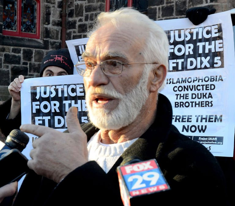 Ferik Duka, father of the Duka brothers, speaks at the demonstrations of supporters in front of the Camden Courthouse