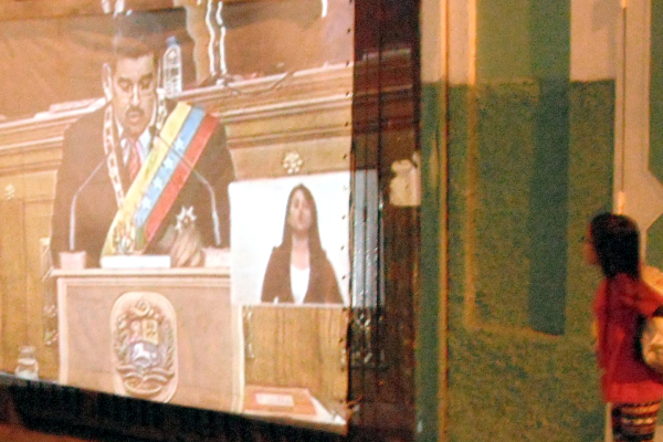 Communities organized viewing parties of Maduro's annual address, projecting it onto walls in their neighborhoods and then holding people's discussions.