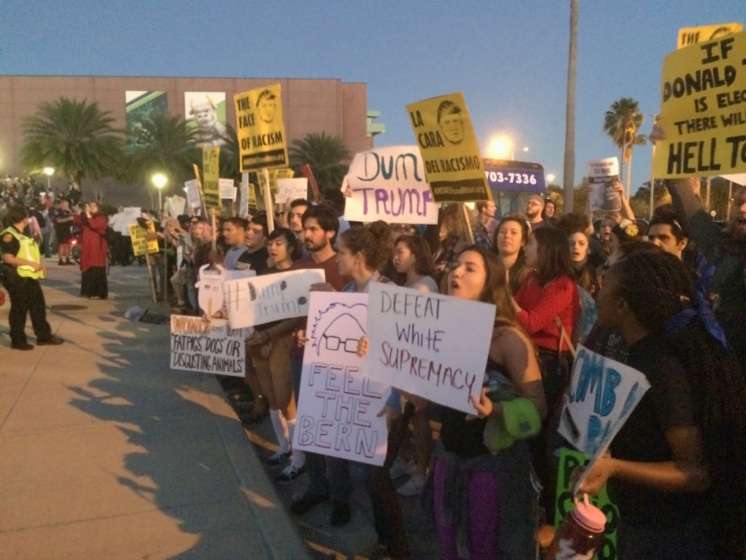 Tampa students protest Trump at USF Sun Dome
