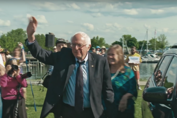 Screen shot from Sanders campaign video