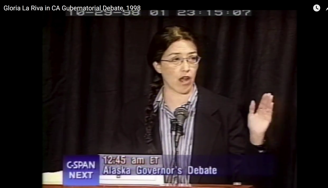 Photo of [Video] Gloria La Riva in CA Gubernatorial Debate, 1998