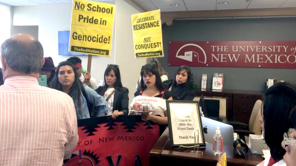 Photo of Albuquerque: Activists speak out against racist seal, university president stands with racism