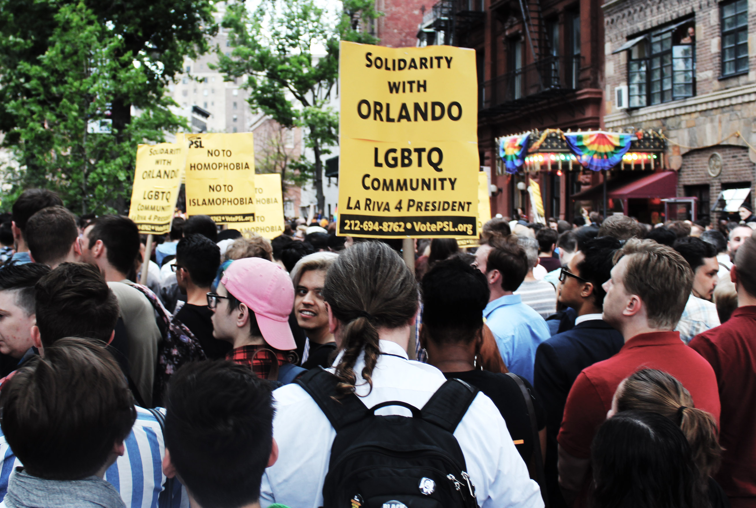 Photo of Outside Stonewall, mourning for Orlando, anger at Bratton and Cuomo