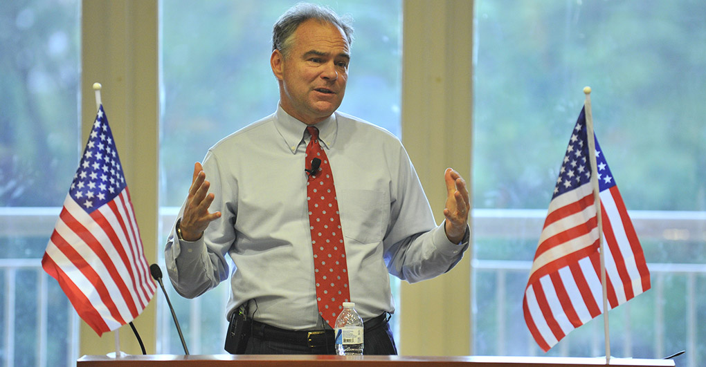 Photo of Clinton's VP Tim Kaine is a warmonger and anti-abortion