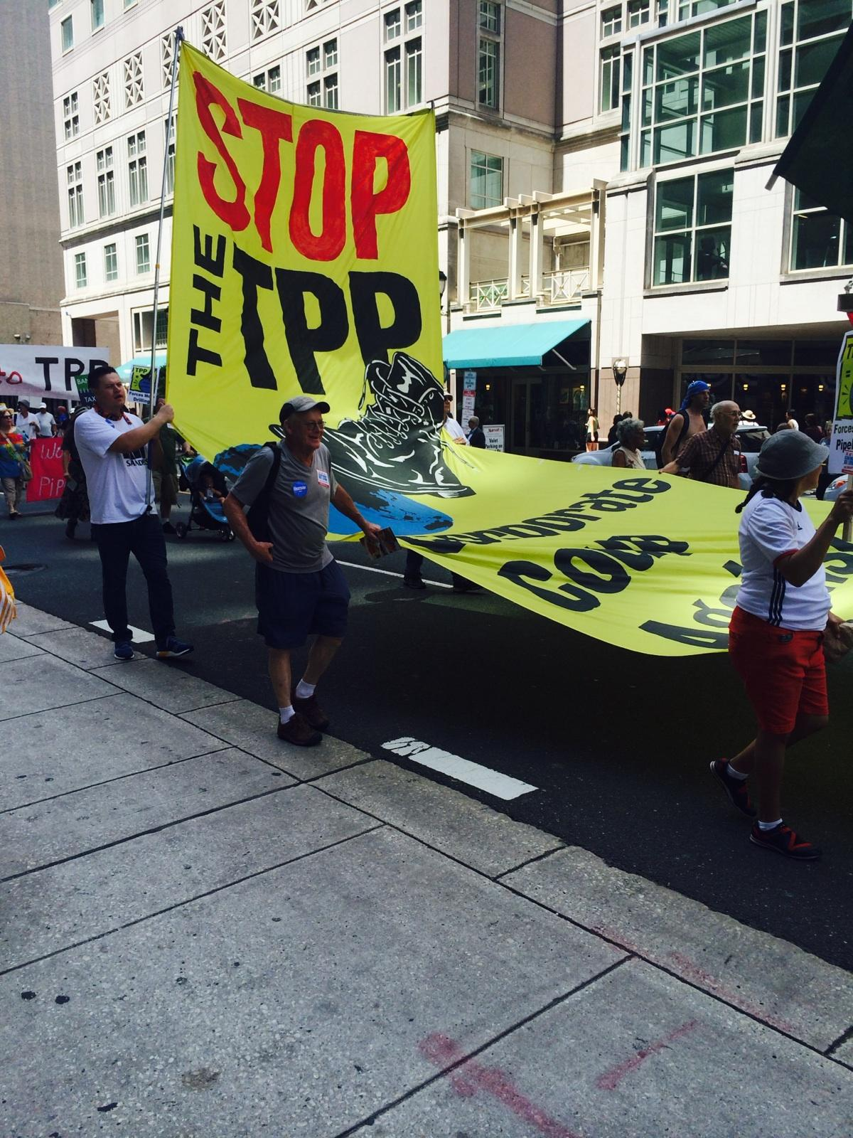 Photo of 'March for a Clean Energy Revolution' outside the DNC