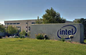 A sign outside of Intel's Rio Rancho plant is shown in this Monday, April 25, 2016, photo, a week after Intel announced plans for massive job cuts across the company creating uncertainty in one of New Mexico's largest cities. The giant chipmaker is expected to unveil details this week that could determine the future of the company's plant north of Albuquerque. (AP Photo/Russell Contreras)