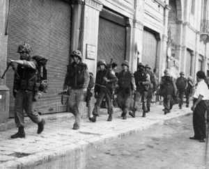 U.S. marines on the streets of Beirut the following day of Iraq's 1958 revolution.