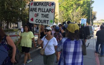 Striking court workers  in San José. | Photo: Mark Gomez/Bay Area News Group