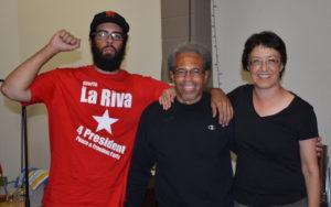 Left to right: campaign activist Jamier Sale, Albert Woodfox and Gloria La Riva