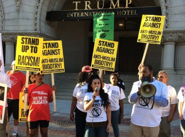 Photo of Outside Trump Hotel: Building a wall against racism and bigotry