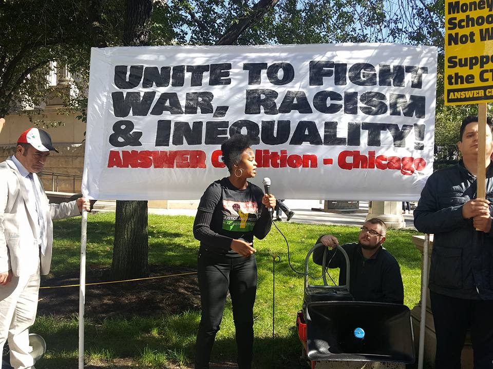 Photo of Chicago protests war and racism on 15th anniversary of Afghanistan invasion