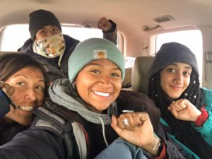 Militant Journalist Maile Hampton (right) with water protectors at Standing Rock