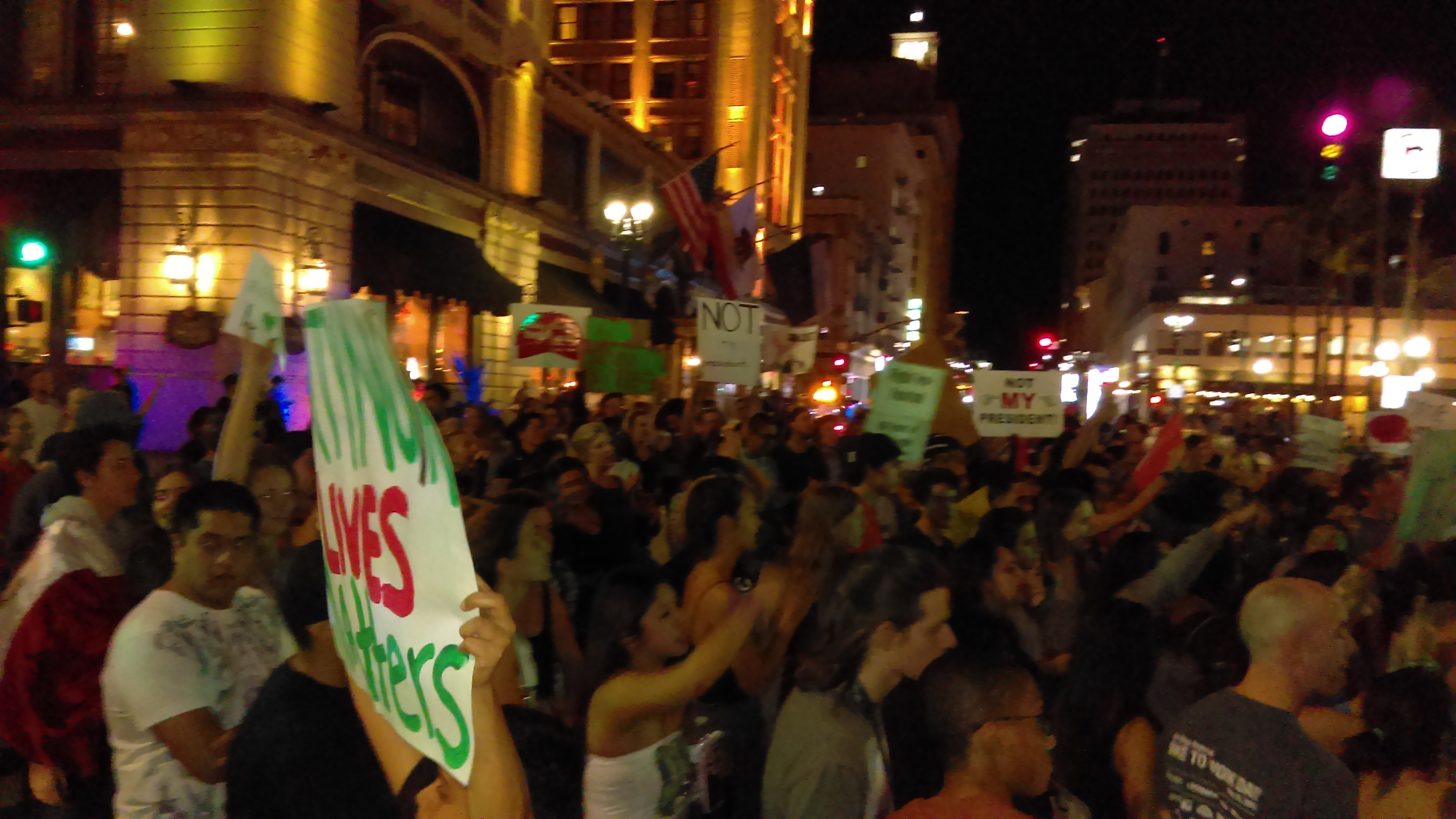 Photo of San Diego demonstration against neofascism and Donald Trump.