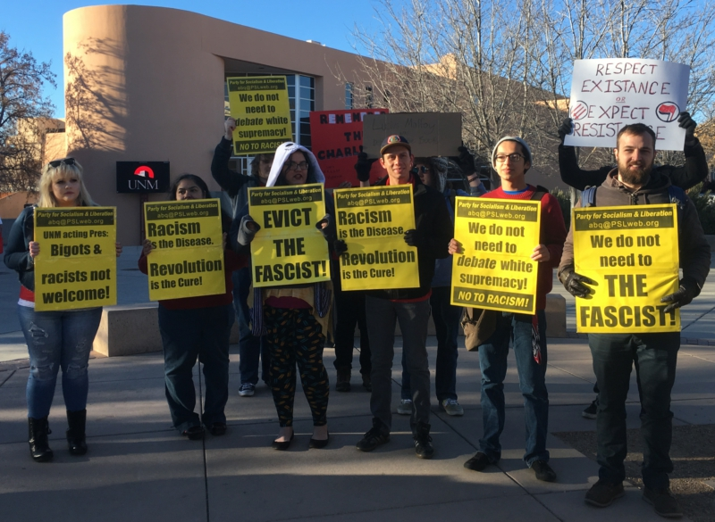 Photo of UNM students stand against fascism