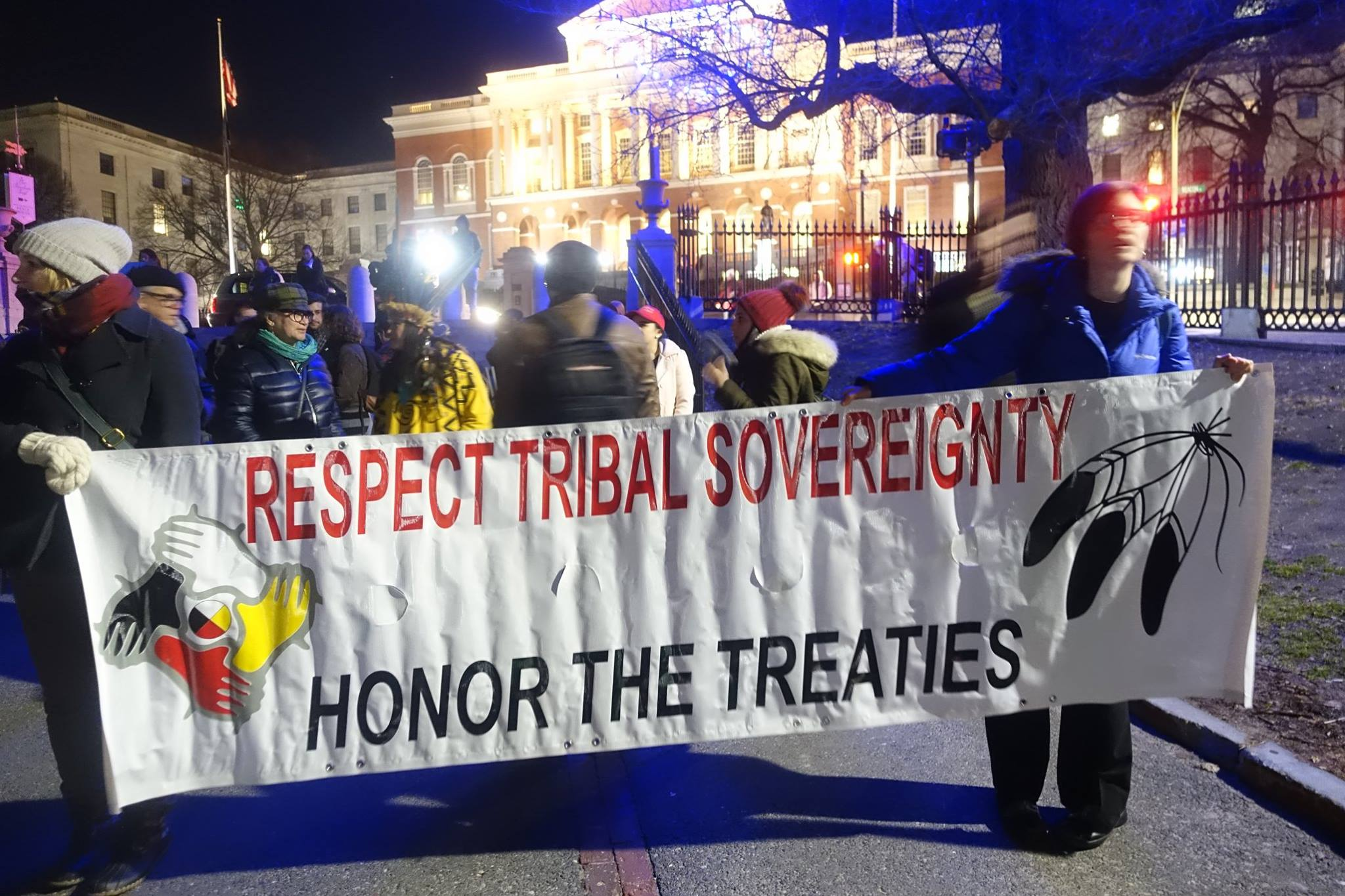 Photo of Boston Indigenous and other progressives stand with Standing Rock