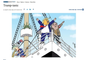 China Daily cartoon portraying Bannon as a Nazi