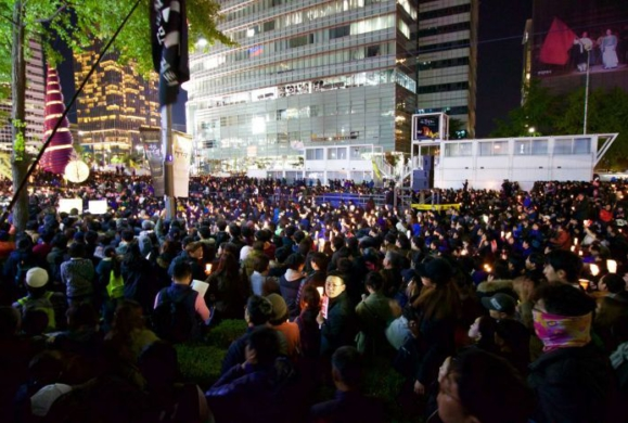 Mass demonstration against ex-President Park