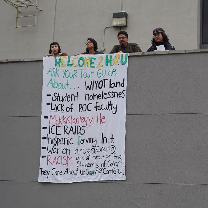 Photo of Dropping banners at Humboldt State University